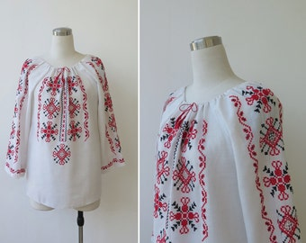 1960s Vintage Romanian Embroidered Blouse, Peasant Top, Traditional Bohemian Blouse, Boho Gypsy Top