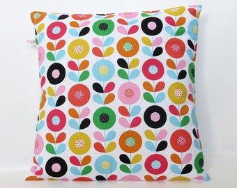 Cushion - Pillow Cover Retro Mod Floral in Pink Orange Green
