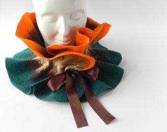 Felted scarf, felt wool scarf, woman accessory, warm wool scarf, GIFT for her, orange brown scarf, wool scarf, winter scarf, GIFT IDEA