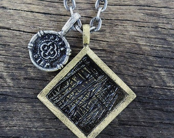 Mens Rustic Necklace Geometric Square Coin Oxidized Brass Pendant