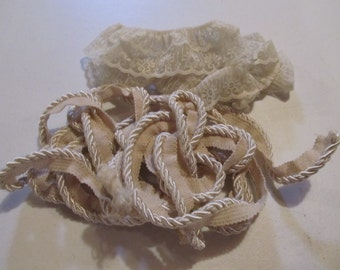 Two Ivory Trimmings....One Lace Gathered Trim and A Shiny Twisted Rope Trim