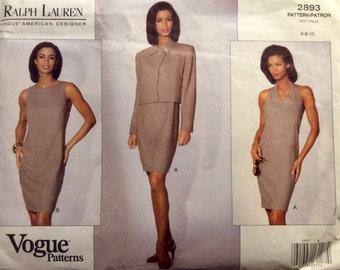 Vogue American Designer Original Ralph Lauren Sewing Pattern Jacket and Halter Sheath Dress 1992 Size 6-8-10 Uncut