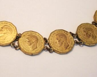 Vintage coin bracelet.  Threepence bracelet