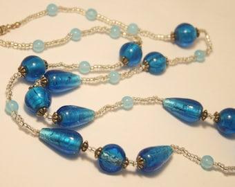 Vintage blue glass bead necklace. Foil glass necklace. Long necklace