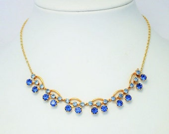 Vintage blue rhinestone necklace. Crystal necklace