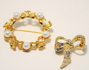 Bow brooches. Pearl bow brooch. Crystal bow brooch