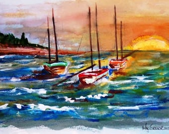 Down East Sunrise Art Print seascape watercolor painting of 3 sailboats moored in the bay at sunset.