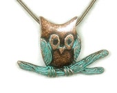 Verdigris Patina Owl Necklace, Stamped Copper Patina Owl on Branch Pendant, Rustic, Art Deco, Necklace Set, Woodland, Nature
