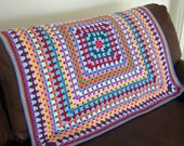 """Granny Square Crochet Blanket Rainbow Colors Afghan 60"""" x 60"""" Payment 1"""