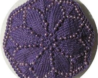 Purple on Purple Octagonal Beaded Kippah