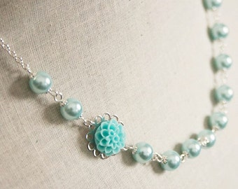 Handmade Aqua Flower Necklace Aqua Pearl Necklace Bridesmaid Necklace Aqua Resin Flower Jewelry Aqua Wedding Aqua Bridesmaid Necklace