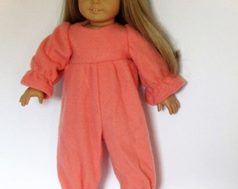 Plain Peach Fleece Footies  Pajamas Made to fit Dolls Like Gotz or American Girl -  Doll Clothes 18""
