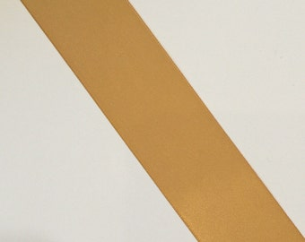 "CLEARANCE Double Sided Satin Ribbon 1 1/2"" old gold 30 yards"