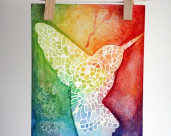 Hummingbird water colour painting, rainbow, spirit, free, let go, release,