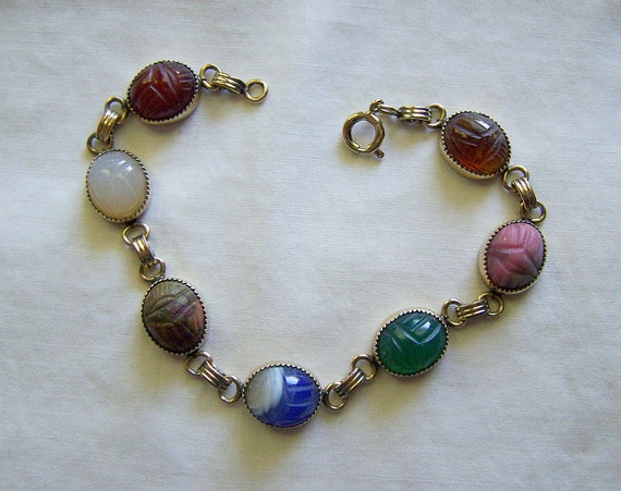 Antique Egyptian Revival Scarab Gemstone Bracelet GF