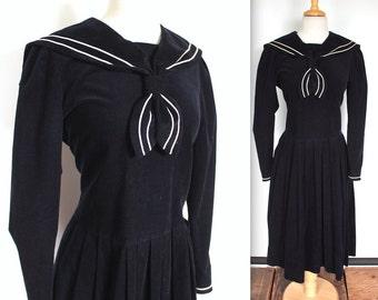 Vintage Sailor Dress // Laura Ashley 1980s does 1920s Navy Blue Corduroy Sailor Dress with Collar // Long Sleeve Nautical Dress