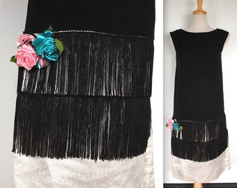 Vintage 1960s Dress // 50s 60s Black and Silver Lurex Flapper Dress // Fringe Skirt with Roses // 1920s Style Party Dress