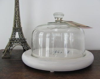 Glass Cloche, Stenciled Cloche with Cream Wood Base and Eiffel Tower Tag