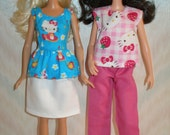 """Handmade 11.5"""" fashion doll clothes -  4 piece set -- pants, skirt and 2 tops"""