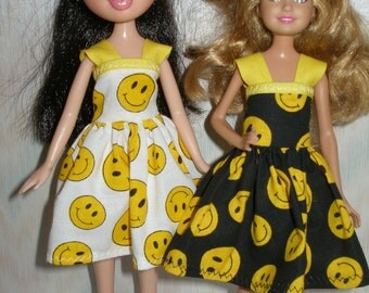 """Handmade 9"""" little sister fashion doll clothes - smiley face print dress"""
