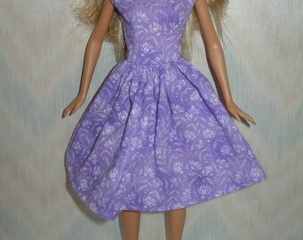 """Handmade 11.5"""" fashion doll clothes - purple  and white floral print  dress"""