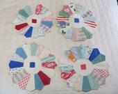 Vintage Feedsack Dresden Plate Quilt Blocks-Set of 4