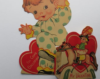 Vintage Childrens Valentine Day Card-Ephemera-Mixed Media-Paper-Crafts-Scrap Booking-Baby Clown-Circus