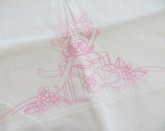 Vintage Printed Pillowcase Set to Embroider-Kittens