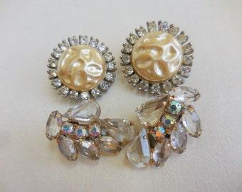 Lot of 2 Vintage RHINESTONE and Faux PEARL Earrings 1 JULIANA