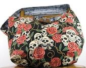 SKULL BAG - Crossbody Bag - Over Shoulder Bag - Skull and Roses - Hippie Bag - Skull Purse - Day of the Dead - Boho Bag - Goth Bag