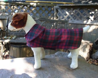 Red Black and Green Plaid Coat- Size  Small- 12 to 14 Inch Back Length- Or Custom Size
