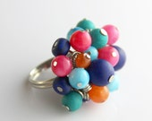 OUT OF TOWN - Carnival Cluster Ring - Colorful Turquoise Aqua Blue Teal Hot Pink Orange Multi Color Cluster Fun Adjustable Cocktail Ring