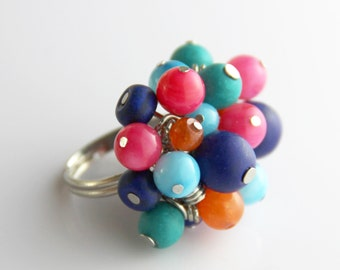 Carnival Cluster Ring - Colorful Turquoise Aqua Blue Teal Hot Pink Orange Multi Color Cluster Fun Adjustable Cocktail Ring