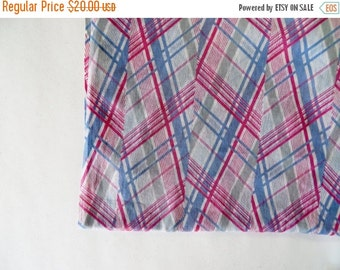 Vintage Fabric / 1930s Fabric 30s Fabric / Chevron Plaid Fabric / 1930s Dress Fabric / Cotton Yardage / 1940s Fabric 40s Fabric / Pink Blue