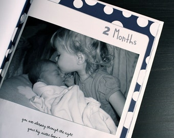 Hardcover Baby Book - First Year Memories Scrapbook, Photo Album, Personalized Book, Custom Memory Book, Baby's First Year
