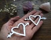 Heart earrings, Heart and arrow hoop earrings, Valentine's  day jewelry