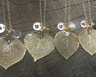 15% OFF,Set of 7,Gold aspen Leaf Necklace,initial necklace,monogram jewelry,Bridesmaid gifts,Fall Wedding ,Bridal Jewelry Gift