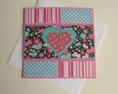 Handmade Valentine Card Neverending Card Turquoise and Pink Hearts