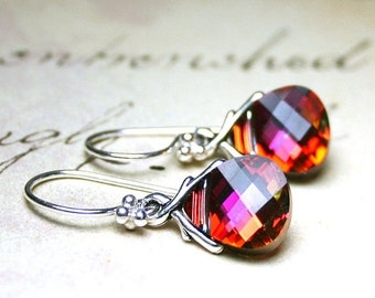 ON SALE Swarovski Briolette Earrings in Crystal Cathedral - Pink and Orange - Sterling Silver and Swarovski Crystal