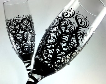 Wedding Toasting Flutes with crystals, champagne glasses, personalized