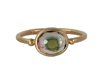 Evil Eye Watermelon Tourmaline Ring in Recycled 14k Gold Ring - Solitaire, Alternative Engagement Ring, Rose Cut, Watermelon Tourmaline