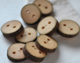 tree branch buttons • set of 9 poplar wooden buttons • wood button