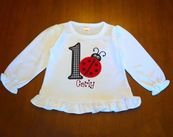 Personalized Child's Birthday Number or Initial Lady Bug Shirt or Bodysuit