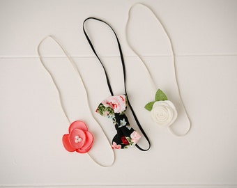 Black coral ivory set- set of three headbands attached to skinny elastic headbands, hair accessories
