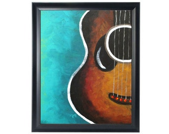 SMILING GUITAR , 8x10 inch print of an original painting