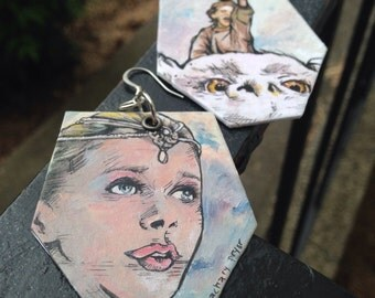The Neverending Story - hand-painted earrings - Bastian Empress and Falkor