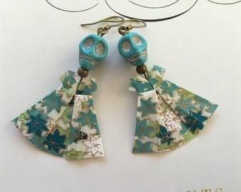 Origami Dress Earrings - Skulls