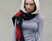 CLEARANCE SALE Upcycled Recycled Repurposed Sweater Hooded Scarf Argyle Diamonds Black Red Gray