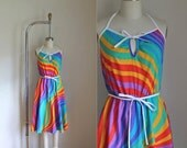 vintage 1970s sundress - RAINBOW SWIRL sundress / XS-S-M