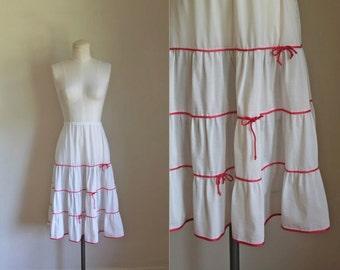 vintage 1950s nylon slip - CORAL BOW petticoat / S/M